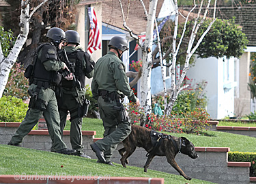 Burbank's K-9 and SRT members perform a house to house search for a burglary suspect.        (Photo By Ross A. Benson)