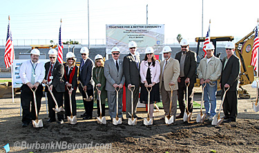 Members of the City and School District came together Monday for the ground breaking of the new stadium at Burroughs    (Photo By Ross A. Benson)