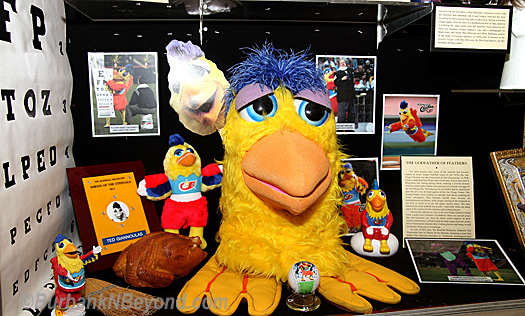The world famous San Diego Chicken has a prominent space in the display.       (Photo By Ross A. Benson)