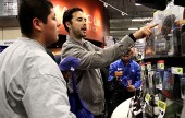 LA Dodger Andre Ethier help some kids during a shopping spree at Best Buys in Burbank Tuesday.  (Photo by Ross A. Benson)