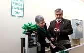 Lynn C. Kronzek joins Mayor Jess Talamantes in the 'Official' Ribbon Cutting of Burbank's Electrical Charging Station located at the Media Center Mall.  (Photo by Ross A. Benson)