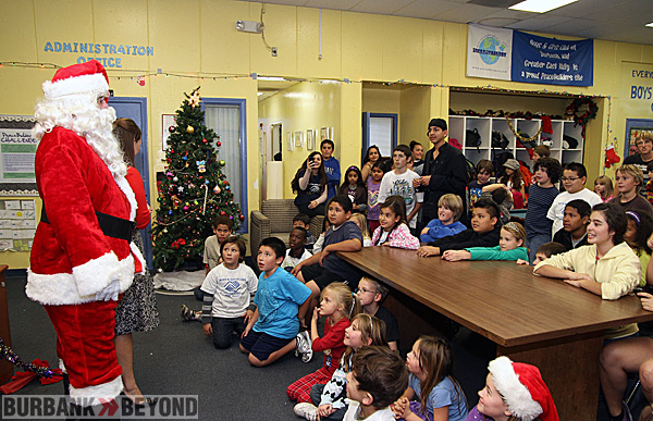 Santa is welcomed at The Boys & Girls Club of Burbank & East S.F. Valley.  (Photo by Ross A. Benson)