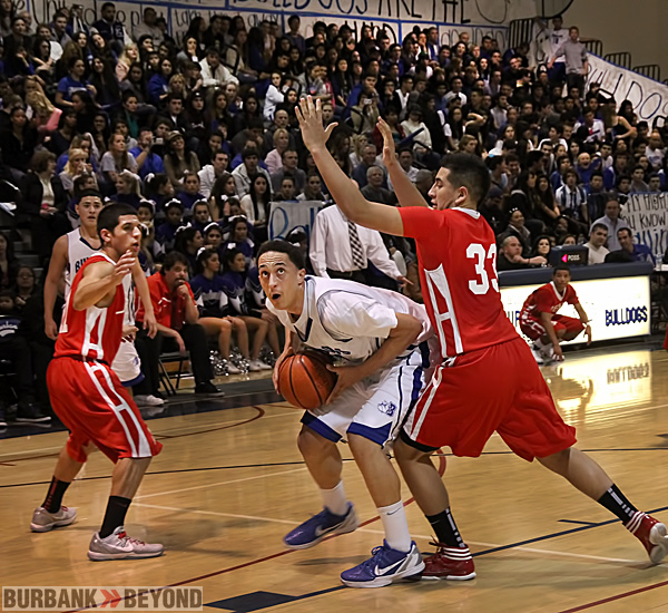 Burbank High Boys Basketball defeats Crosstown Rivals Burroughs 70 to 59.  (Photo by Ross A. Benson)
