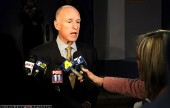 Governer Jerry Brown at Burbank Media Briefing.  (Photo by Ross A. Benson)