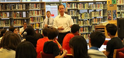 Senator Adam Schiff visited John Burroughs High School on Thursday. (Photo by Ross A. Benson)