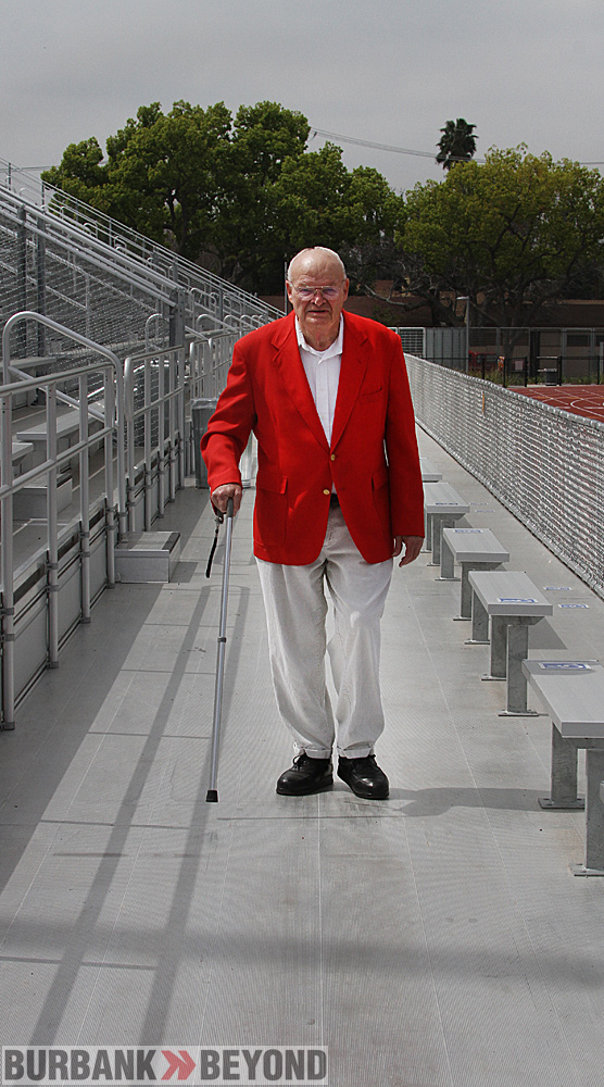 Vernon Ross strolls in the new bleachers at Memorial Field&#039;s home stands. (Photo by Ross A. Benson)