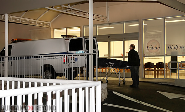 Los Angeles County Coroner Officials take the body from DaVita Dialysis. (Photo by Ross A. Benson)