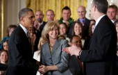 President Barack Obama and Education Secretary Arne Duncan congratulate 2012 National Teacher of the Year, Rebecca Mieliwocki in the East Room of the White House, April 24, 2012.  The President hosted the event honoring the 2012 National and State Teachers of the Year . (Official White House Photo by Pete Souza)