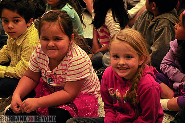 Kindergartners from Providencia Elementary enjoy their front row seats.