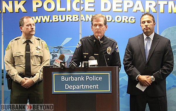 Captain Mike Parker LASO, Burbank Police Captain Denis Cremins, Special Agent in charge of the FBI's Los Angeles office, Steven Gomez. (Photo by  Ross A. Benson)
