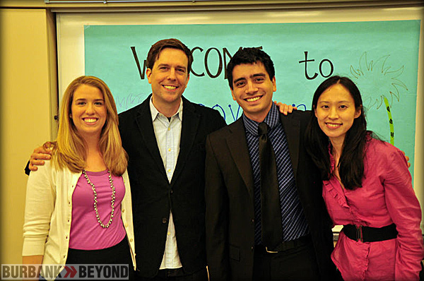 (L-R) Kerri Epps (Violin Teacher), Ed Helms, Nick Alvarez (Cello Teacher) and Victoria Lanier (Executive Director of ETM-LA)
