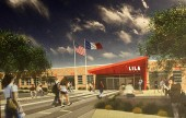 An Artist rendering of the proposed new front of the LILA school project. (Photo by Ross A. Benson)