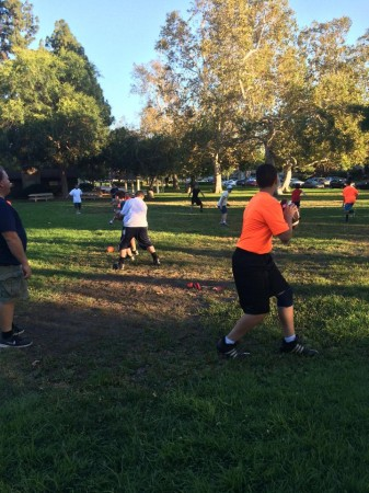 Burbank Dolphins work on passing drills (Photo courtesy of Mike Graceffo)