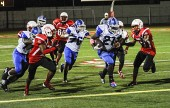 James Williams (#21) of Burbank had another big night as the Bulldogs won big  (Photo By Craig Sherwood)