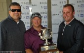 Corby Segal of Burbank (center) is presented the trophy for the 2012 Burbank City Amateur Championship by  DeBell's Head Gold Professional Joaquin Herbozo (left) and DeBell's Director of Golf, Scott Scozzola (Photo By Craig Sherwood)