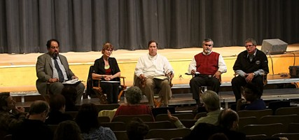 City Council at Tuesday&#039;s Town Hall Meeting at Jordan Middle School. There were staff present on this night then there were residents to ask questions. (Photo by Ross A. Benson)