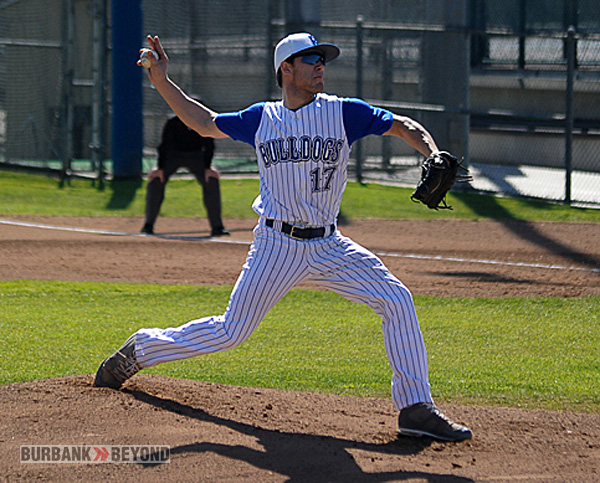 Gavin Bushey took the mound on opening day for Burbank (Photo by Craig Sherwood)