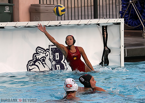 Burroughs goalie Ahsha Earwood blocks one of her 18 saves (Photo by Ross A. Benson)