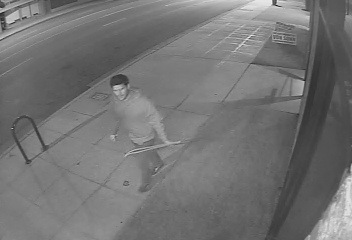 Unidentified man seen leaving the scene after allegedly taking Charlene Talbot campaign signs