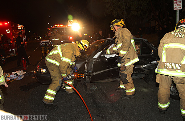 Burbank Firefighters used 'The Jaws Of Life' to extricate a driver and a passenger from this Honda involved in an accident Burbank Blvd. & Mariposa Street Sunday evening. (Photo by Ross A. Benson)