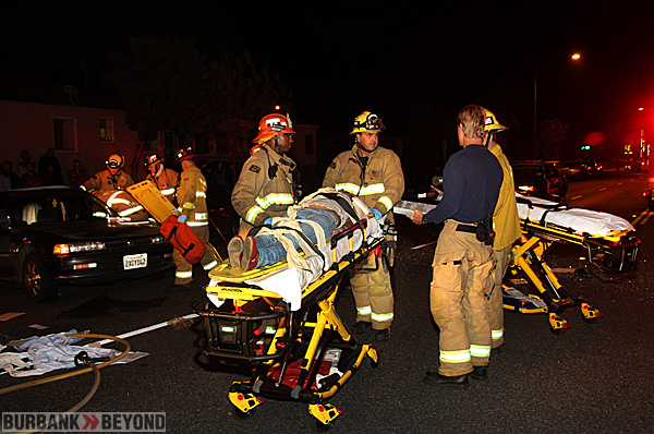 Burbank Firefighters & Paramedics prepare one patient for transport to a local hosiptal following a accident at Burbank Blvd. & Mariposa St. (Photo by Ross A. Benson)