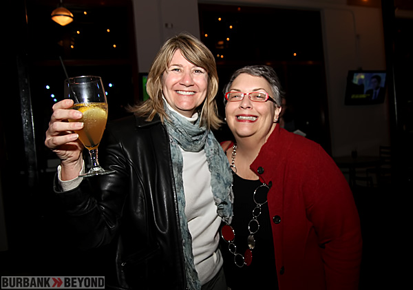 Toasting an Ice Tea City Treasure and Former School Board member Debbie Kukta and Anita Shackman are all smiles with the results looking good for Measure S. (Photo by Ross A. Benson)
