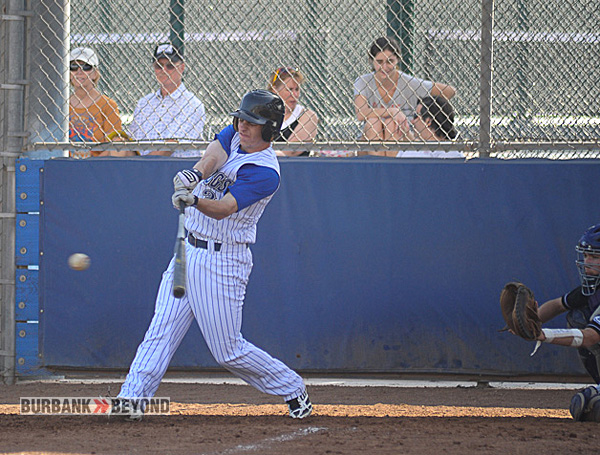 Ian McKinnon had a solo home run during the Bulldogs 10-0 victory over Hoover (Photo Courtesy burbankhighbaseball.com)