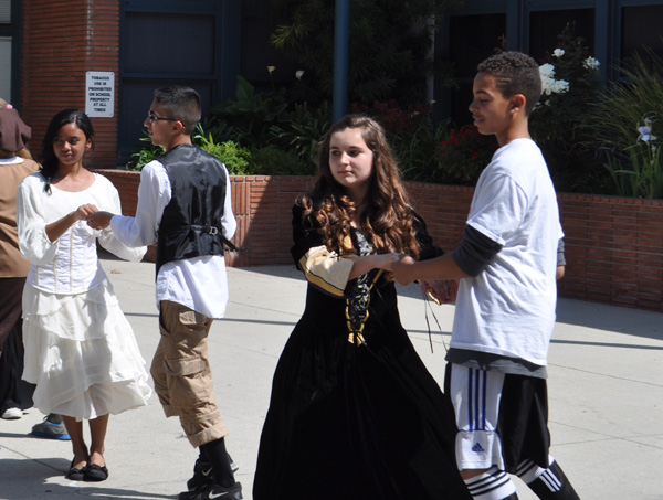 Students work on their Elizabethan Dance skills