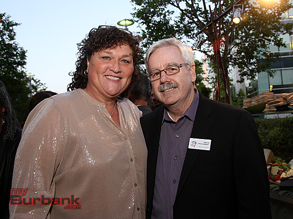Dot-Marie Jones with  Burbank Business Professional Kevin McCarney owner of  Poquito Mas Restaurants. (Photo by Ross A. Benson)