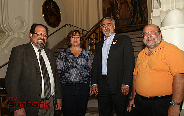 The winners of Burbank's Primary Election L/R David Gordon, Char Tabot, Jess Talamantes and Larry Applebaum. (Photo by Ross A.Benson)