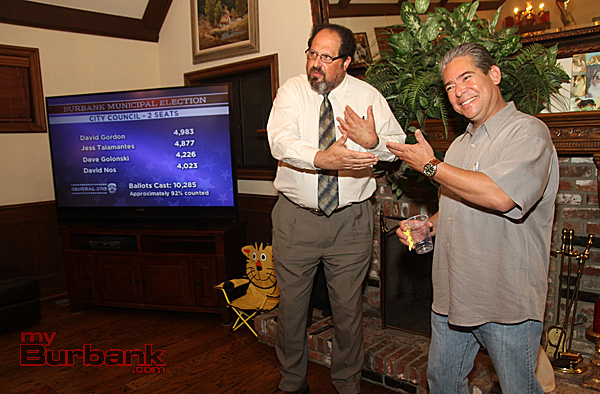 Councilman Elect David Gordon and Newly elected Councilman Bob Frutos address and thank  supporters following the Burbank Primary Election Tuesday nite. (Photo by Ross A. Benson)