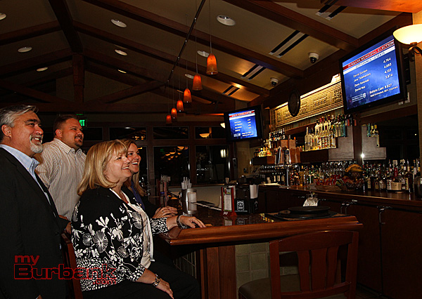 Burbank Councilmen Jess Talamantes is joined by his wife and kids watching the results at DeBell Clubhouse. (Photo by Ross A. Benson)