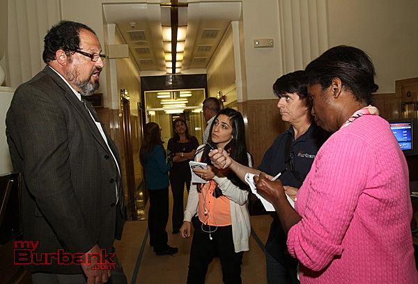 City Councilman David Gordon answers the media's question following his reelection to the Burbank City Council for 4 more years. (Photo by Ross A. Benson)