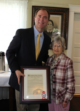 Congressman Adam Schiff honors Sylvia Sutton of Burbank