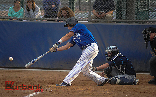 Harrison Hernandez singles for Burbank (Photo courtesy of Burbank Baseball)
