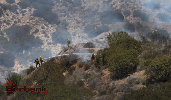 Burbank Firefighters extinguish a small brush fire that consumed 1 acre in the hills above DeBell Golf Course. (Photo by Ross A. Benson)
