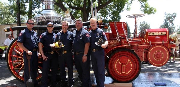 Burbank Firefighters and Muster Club Members Steve Byrne, Steve Rushing,Kevin Deagon,Jim Baldridge, and Terry Mencuri. Part of the team responsible for getting the antique equipment restored and running for Fire Service Day &amp; The Centennial Celebration. (Photo by Ross A. Benson)