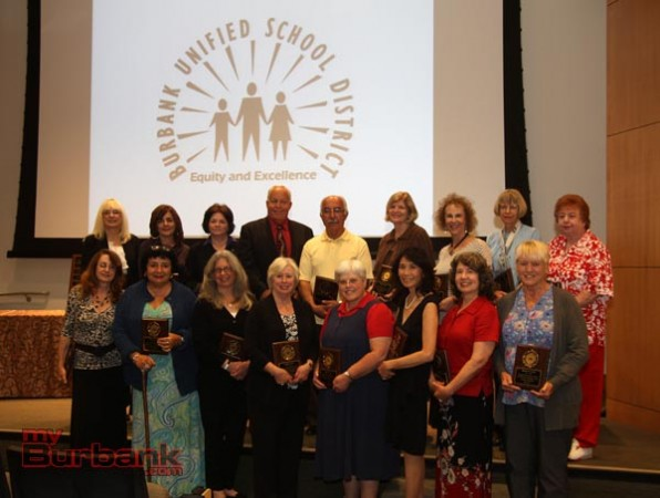 Retiring School District Employees, during awards ceremonies held last week (Partial Group). (Photo by Ross A. Benson)