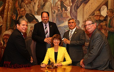 Burbank City Council with newly elected Mayor Emily-Gabal-Luddy seated. (Photo by Ross A. Benson)