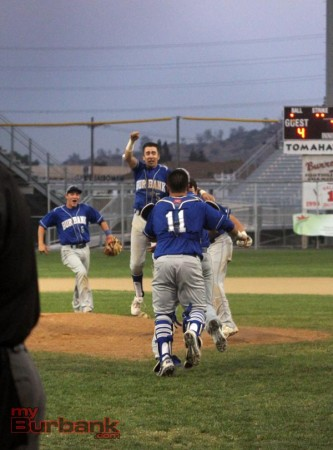 The championship celebration begins for Burbank (Photo by Ross A. Benson)