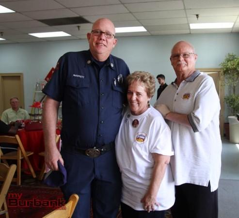 Fire Captain Gary McDiffett along with Sue & Bill Jensen. (Photo by Ross A. Benson)