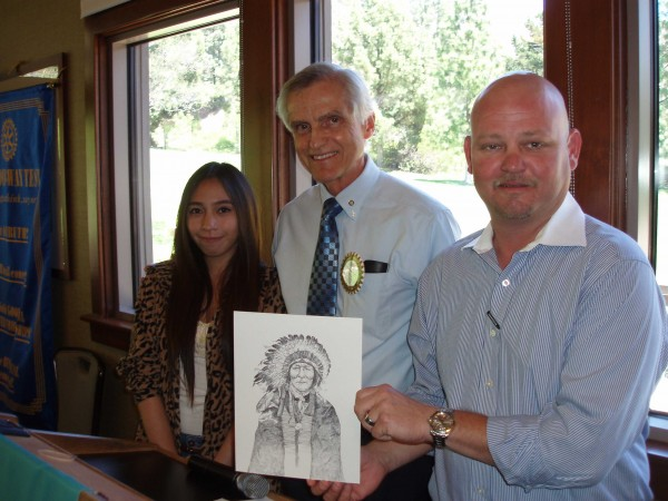 Burroughs High first place winner Karyl Dimaculangan with Court Warner and Mike Thomas of Burbank Noon Rotary
