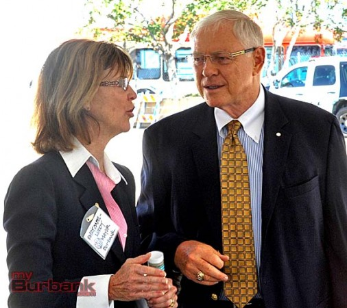 Burbank Mayor Emily Gabel-Luddy talks with Supervisor Michael Antonovich during groundbreaking ceremonies (Photo By Craig Sherwood)