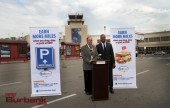 Bob Hope Airport Exec. Dir. Dan Feger along with Jay Ellis introduce Thanks again program at press conference. (Photo by Ross A. Benson)