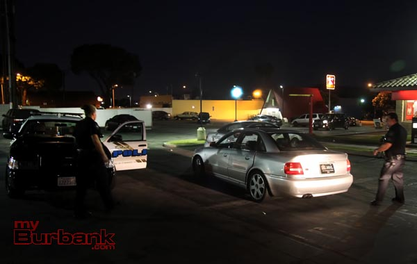 Burbank Police gather evidence with the alleged suspects vehicle, prior to impounding it for further investigation. (Photo by Ross A. Benson)