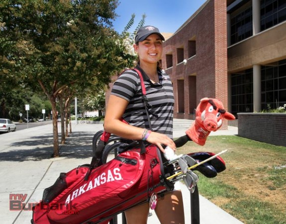Emily Tubert is a three-time All-American at Arkansas (Photo by Ross A. Benson)
