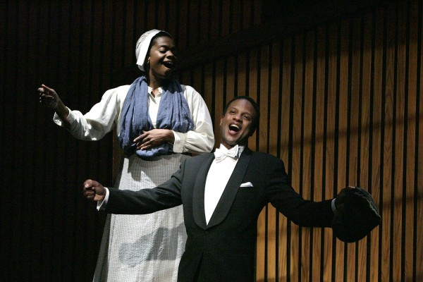 Karan Kendrick and Elijah Rock star in the West Coast Premiere of BREATH AND IMAGINATION: THE STORY OF ROLAND HAYES, written by Daniel Beaty and directed by Saundra McClain and now playing at the Colony Theatre in Burbank (Photo Courtesy of Michael Lamont)