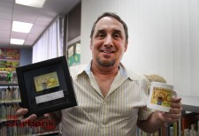 Author David Shannon was presented a couple of gifts that are being used  with his likeness of one of his books 'No David' (Photo by Ross A. Benson)