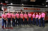 Burbank Firefighters can be seen wearing Pink Tee Shirts for the next couple of days, as they show their support for Breast Cancer Awareness.(Photo by Ross A. Benson)