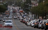 Traffic is backed up for miles on Glenoaks Blvd. following Northbound I-5 Freeway Closure Wednesday afternoon. (Photo by Ross A. Benson)